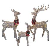 Lighted Deer Family - 240 LED Lights - PVC - 18-in x 13.5-in x 30.5-in - Grey