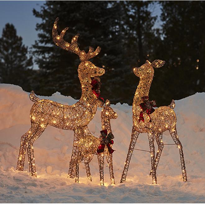 Famille de cerfs illuminés Holiday Living à 240 lumières DEL, PVC, gris