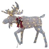 Holiday Living Lighted Moose with 80 LED Lights - PVC - 45-in - Grey