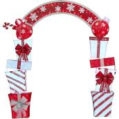 Holiday Living 96-in Red/White Lighted Stacked Gift Boxes Archway