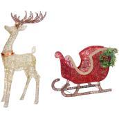 Holiday Living Multicolour Lighted Glittering Buck-Sleigh