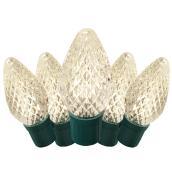 Jeu de 50 lumières extérieures DEL C9, fil vert, blanc chaud