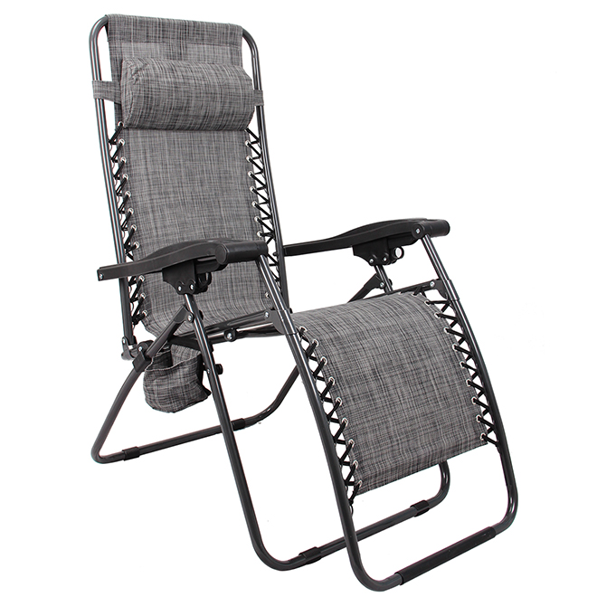 Patio Lounge Chair with Cup Holder - Relax - Grey