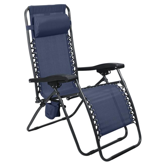Chaise longue de patio Style Selections, collection Relax, zéro gravité, porte-gobelet, indigo