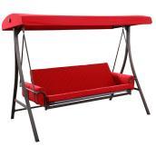Balançoire Style Selections avec futon, 3 personnes, 8 pi, acier/polyester, rouge/brun