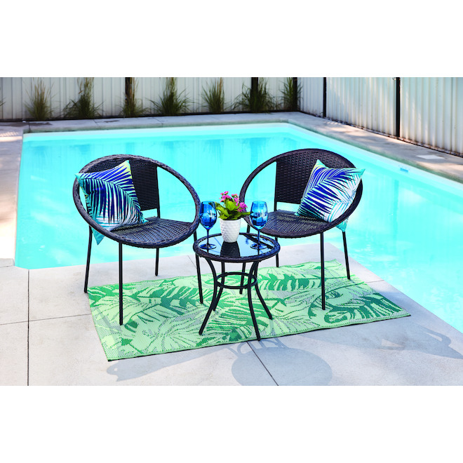 Style Selections Flynn Bistro Set - Wicker and Steel - Black - 3-Piece