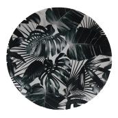Unbreakable Plate Allen + Roth - Palm Motif - 14 3/8-in x 3/4-in- Black and White