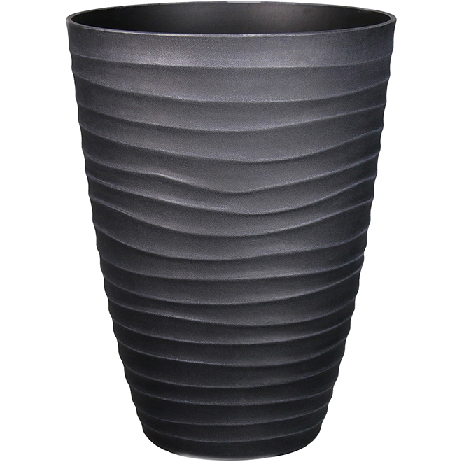 Style Selections Planter with Wavy Design - 15.6-in - Polypropylene - Grey