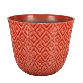 Allen + Roth Resin Planter - Geometric Motif - Indoor Outdoor - 11.2-in - Red