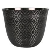 Pot en résine Allen + Roth, motif géométrique, intérieur et extérieur, 16,7 po, noir
