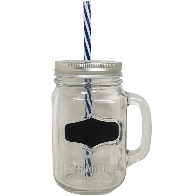 """Mason Jar"" Drinking Jar - Glass - Clear"