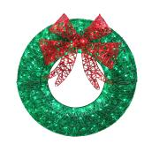"Lighted Wreath - 140 Lights - 36"" - Acrylic - Red/Green"