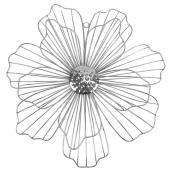 Décoration murale de fleur en métal, 17,5