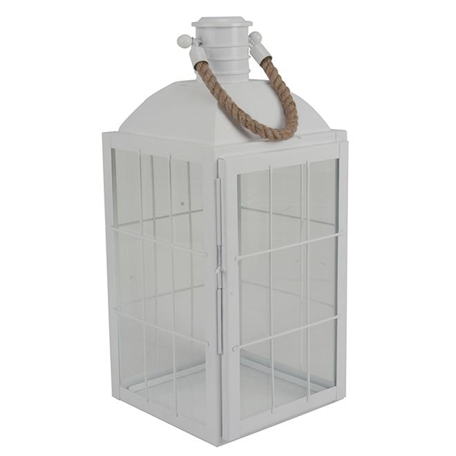 """Metal Lantern - 19.5"""""""" - White"""