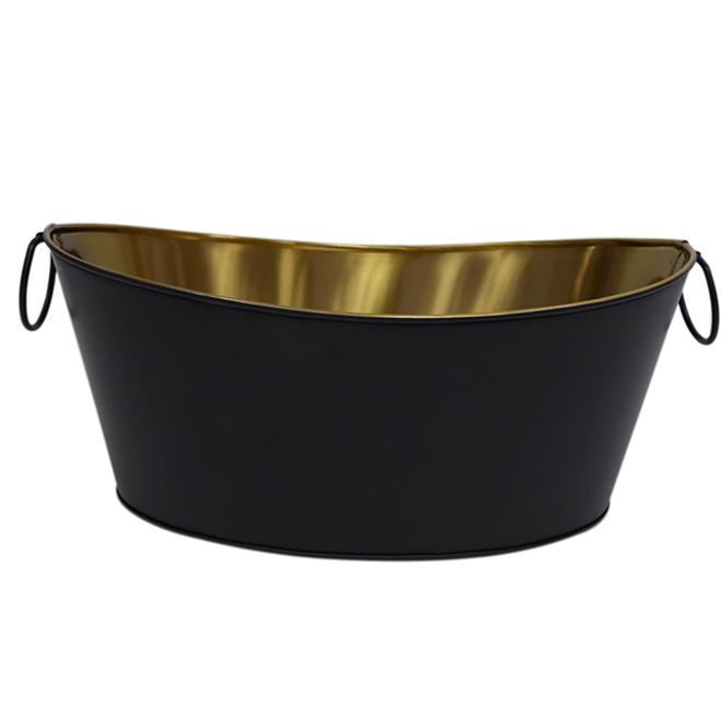 Bac à boissons en acier, noir et or
