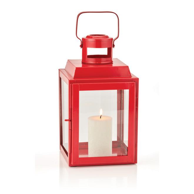 """Lanterne en acier, 12"""", rouge"""