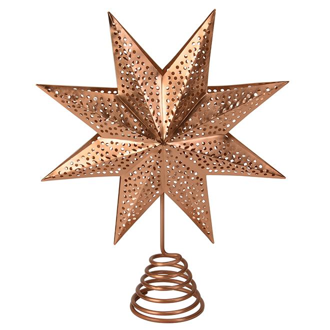 """Décoration pour cime d'arbre, étoile, 14"""", acier, cuivre"""