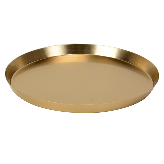 "Decorative Tray - 16.5"" - Mild Steel - Gold"