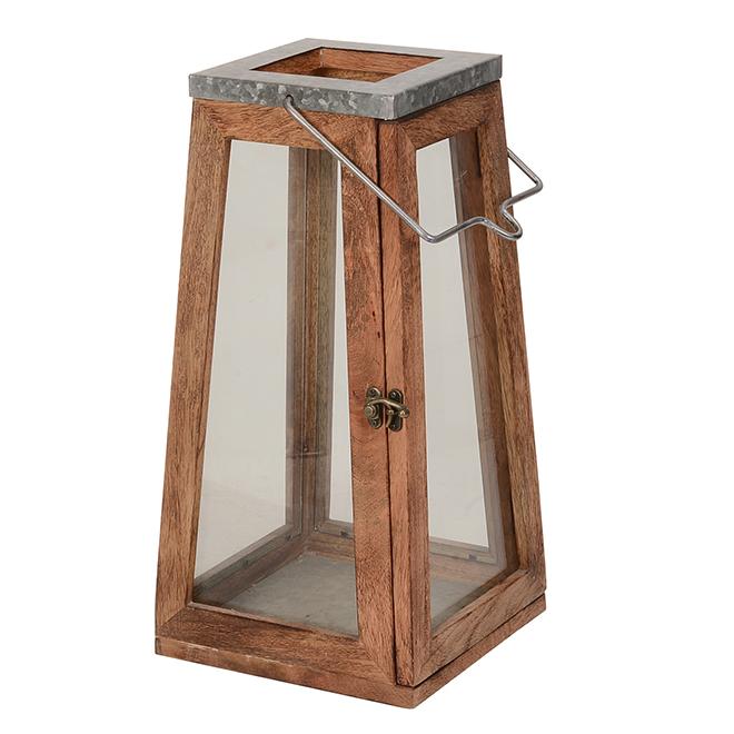 Lanterne en bois, 7,7'' x 15.6'', naturel