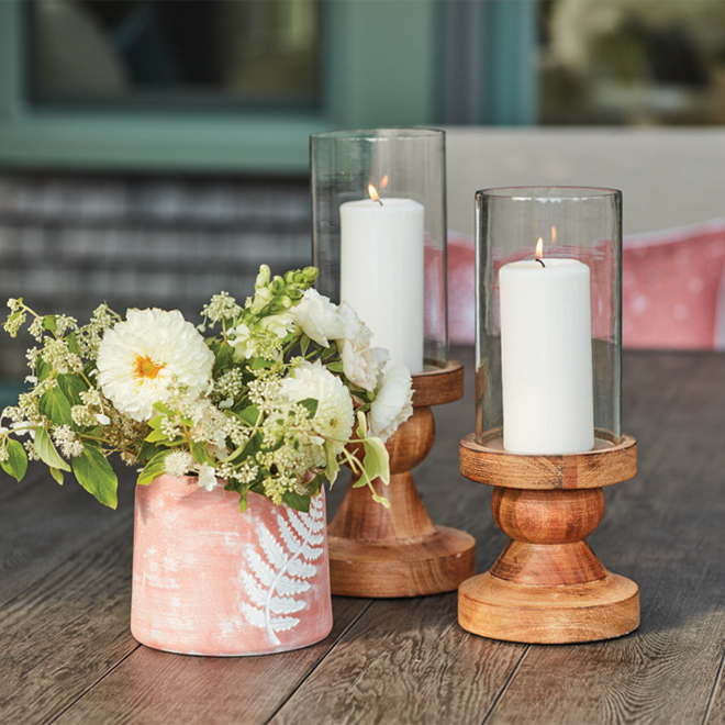 Allen + Roth Candle Holder - 14-in x 5.75-in - Wood and Glass