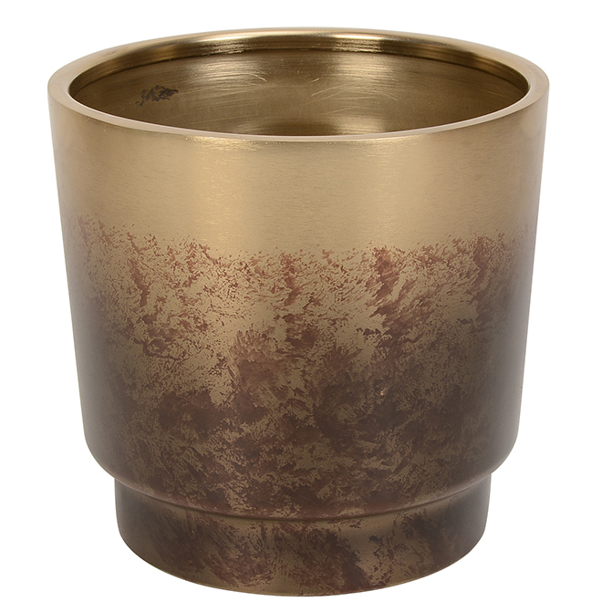 Allen + Roth Planter - 7.6-in x 7.4-in - Steel - Gold