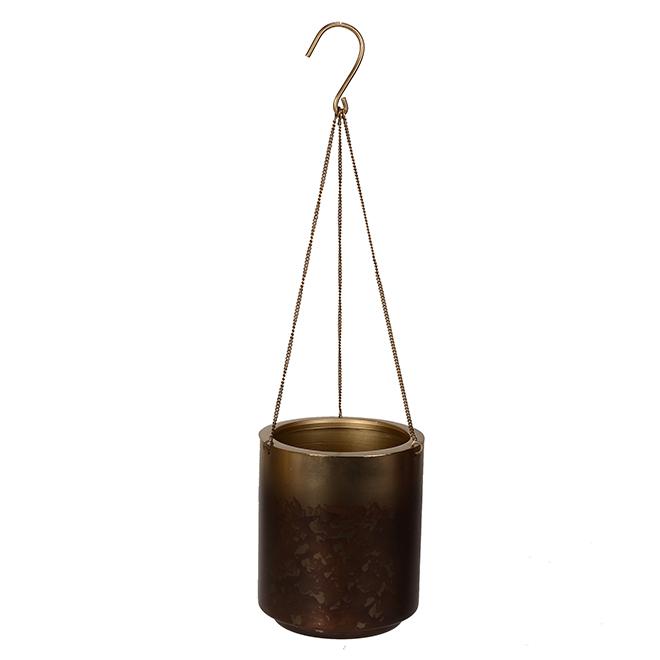 Allen + Roth Hanging Pot - 5.2-in x 6.1-in - Mild Steel - Gold