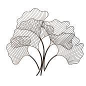 Décoration murale, feuilles, 29,6 po, acier, zinc