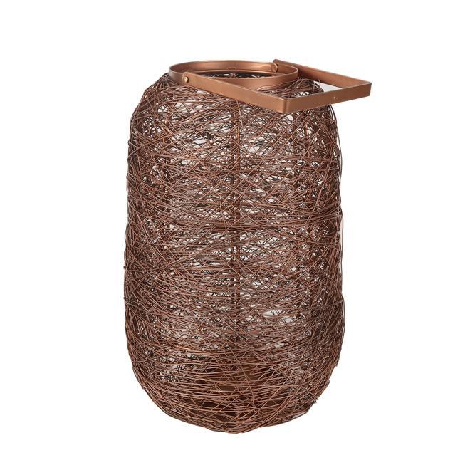 Grande lanterne en fil métallique Allen + Roth, acier doux, 9,4 po x 15,6 po, cuivre