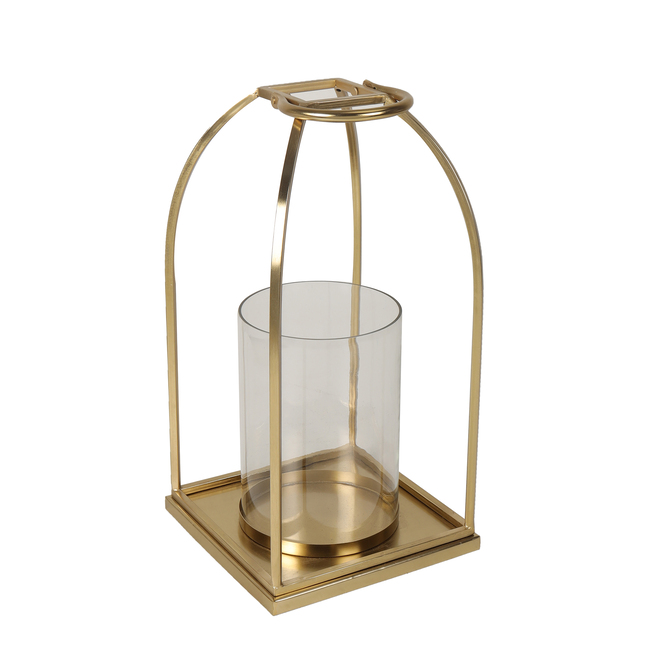 Allen + Roth Large Lantern and Candle Holder - Glass and metal - 8-in x 16-in - Gold