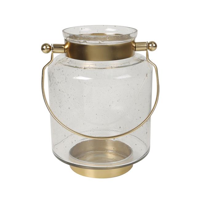 Lanterne de tempête Allen + Roth, verre et métal, 9,5 po, or