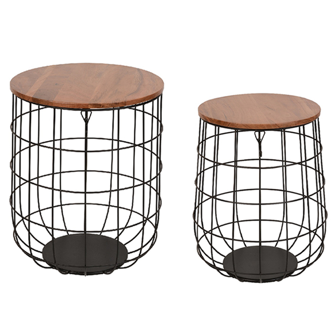 Allen + Roth Set of 2 Tables or Plant Stands - Metal and Wood