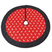Printed Tree Skirt - Cotton - Red and Black - 52''