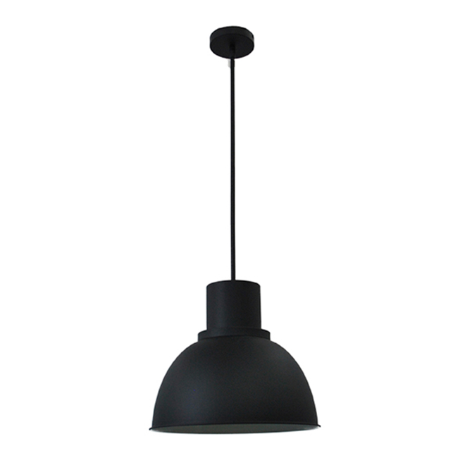 "Dome 1-Light Pendant Light- 35"" x 15"" - Steel - Black"