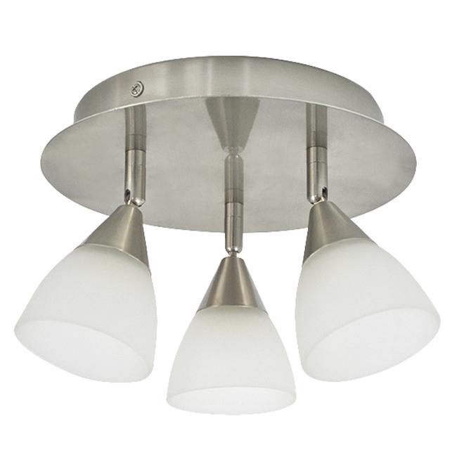 "Flushmount - 3 Lights - 9.5"" - Steel/Glass - White/Nickel"