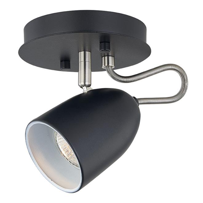 Ceiling Light - 1 Light - Steel - Matte Black/Chrome