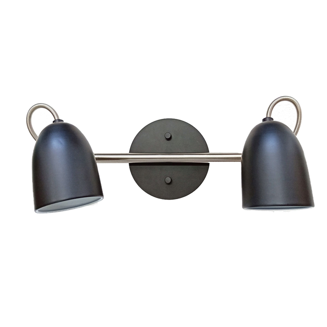 "Track Light - 2 Lights - 16"" - Steel - Chrome/Matte Black"