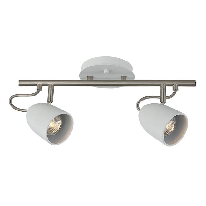 """Luminaire sur rail, 2 lumières, 16"""", acier, chrome/blanc mat"""