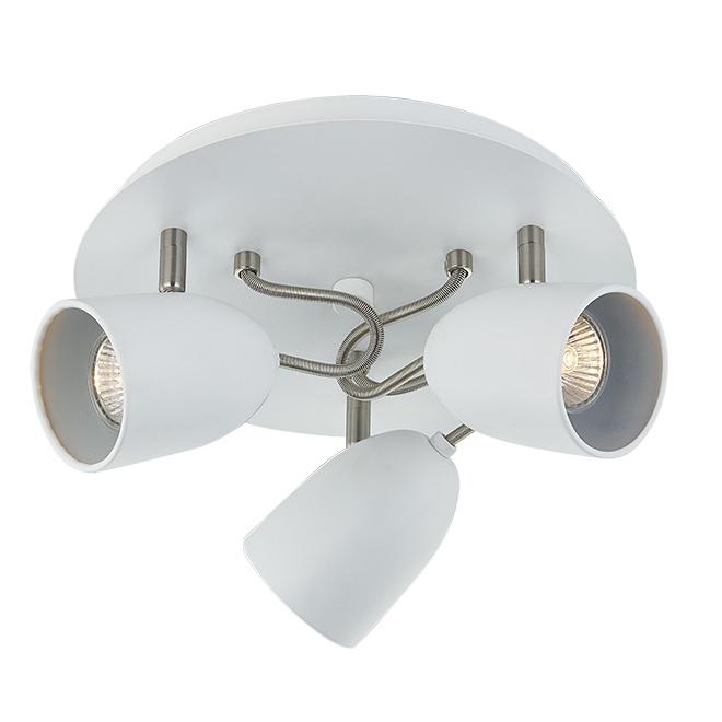 """Flush Mount Light- 3 Lights -14"""" - Steel- Matte White/Chrome"""