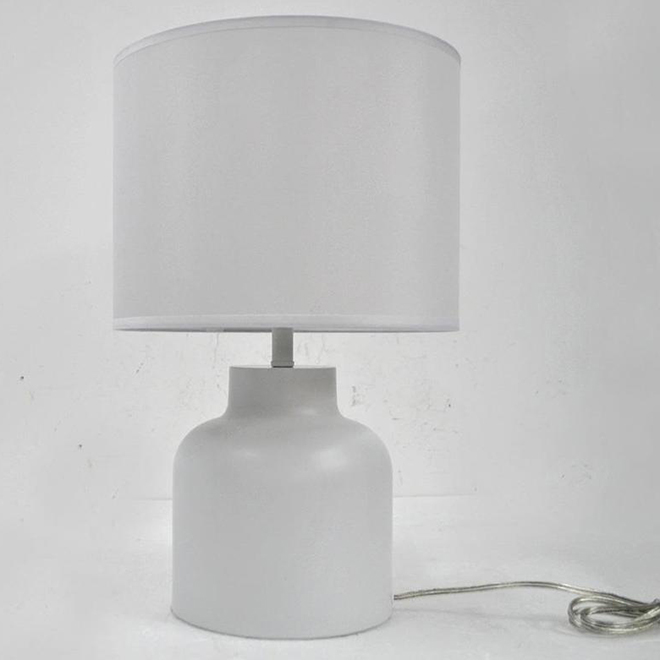 Allen + Roth Table Lamp - Steel and Fabric - 12-in x 18.9-in - White