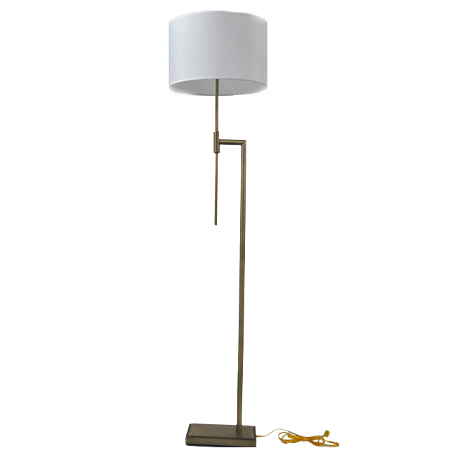 Allen + Roth Floor Lamp - 14.97-in x 65.95-in - Steel/Fabric - Soft Gold