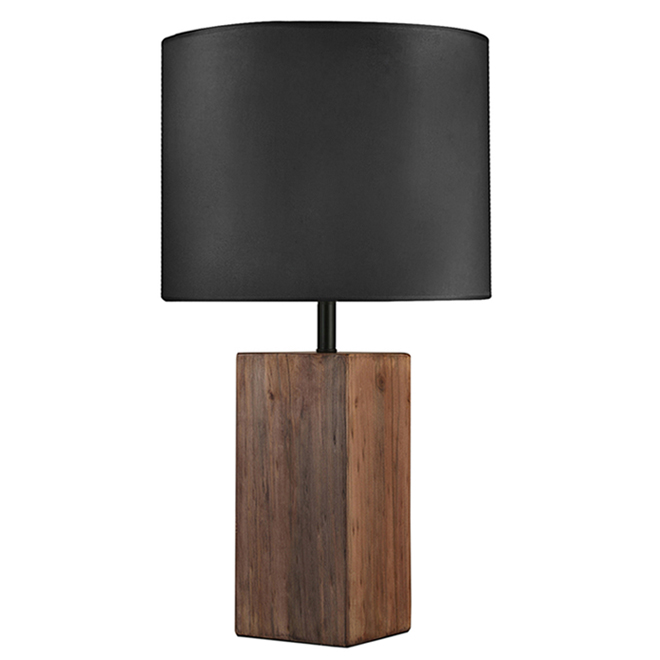 Project Source Table Lamp with Fabric and Wood - 24-in x 15-in - Black and Brown