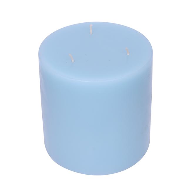 "Three-Wick Pillar Candle - 5"" x 5"" - Seaside Haven - Aqua Blue"