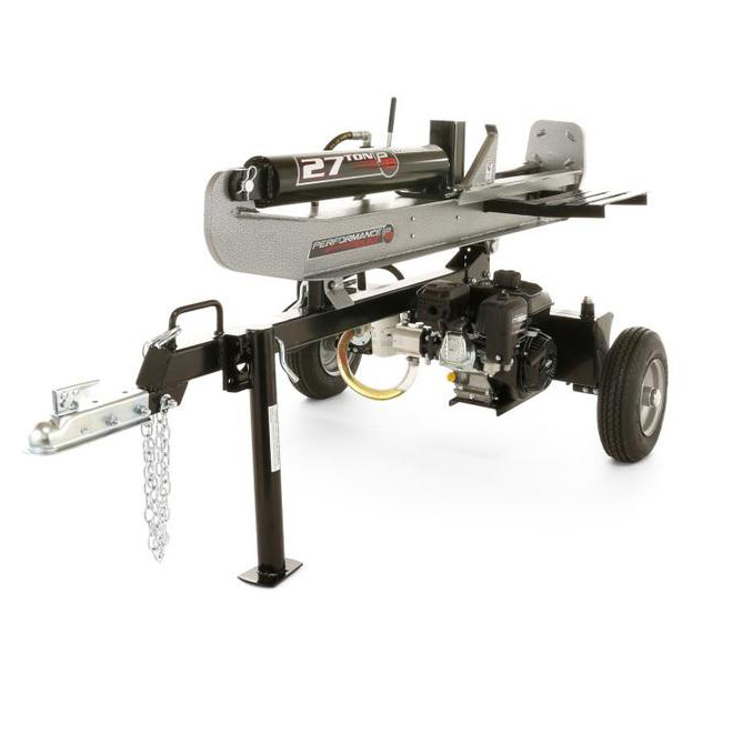 Performance Built Gas Log Splitter and Trailer Hitch - 27 Tons - Silver and Grey