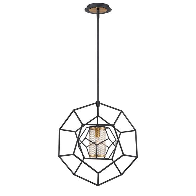 Suspension Eurofase à 1 lumière, style géométrique, 16,5 po x 17,5 po, métal, noir et laiton