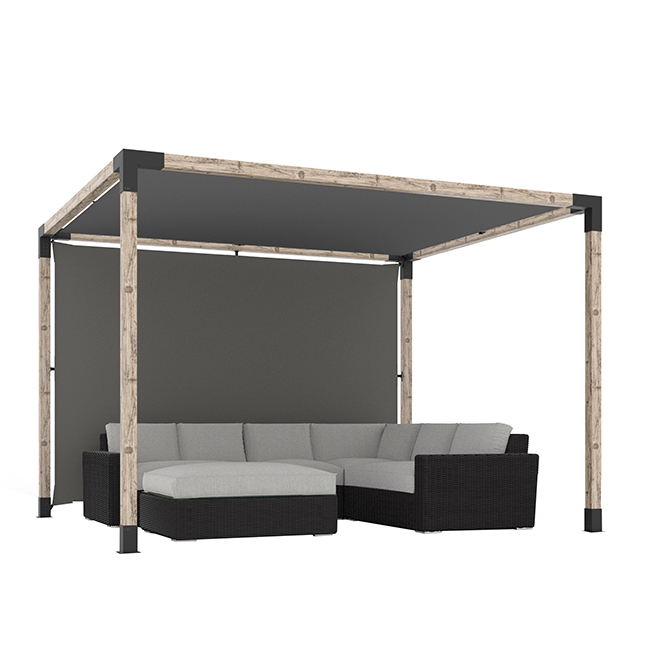 Toile pour pergolas Toja Grid, 10' x 10', graphite