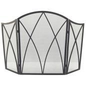 Pare-étincelles Style Selections en acier noir de 47,87 po, 3 panneaux à arc gothique
