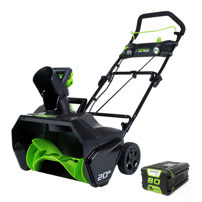Greenworks Cordless Snowblower - 80 V - 20-in - Green and Black 2600402