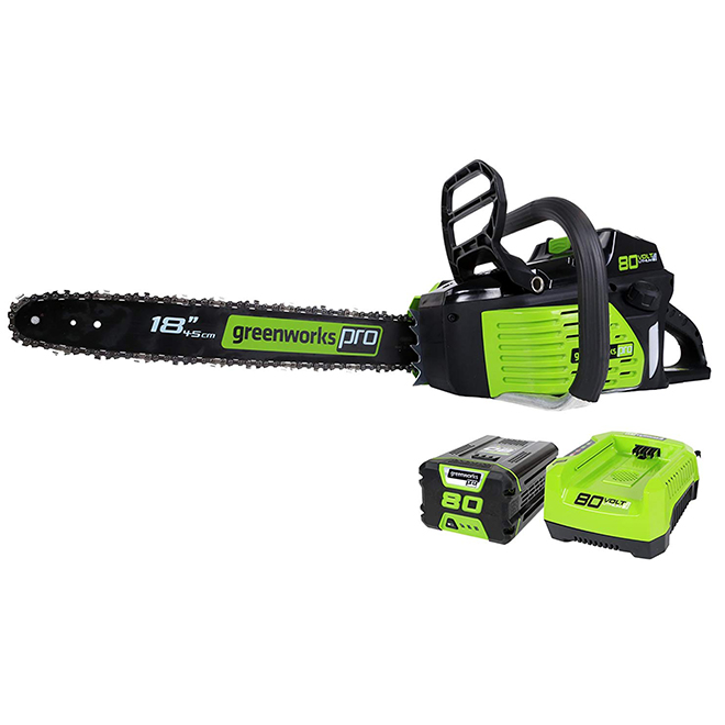 "18"" Cordless Chainsaw - 80 V Lithium-Ion - Green and Black"