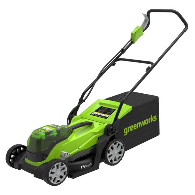 Greenworks Cordless Lawnmower - 24 V - 14-in - Green/Black 2522702