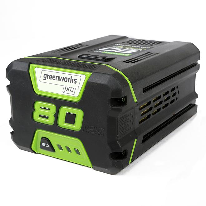 Greenworks 80 V Lithium-Ion Battery - 2.0 Ah - Green/Black